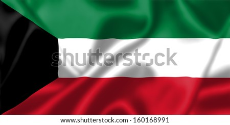Kuwait flag blowing in the wind. Background texture. - stock photo
