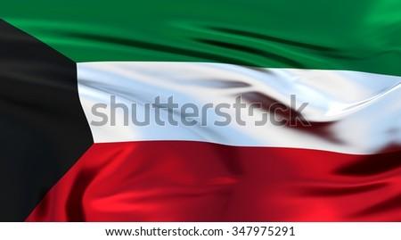 Kuwait Flag. 3d illustration - stock photo