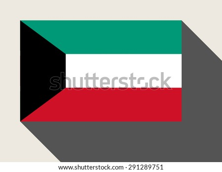 Kuwait flag in flat web design style. - stock photo