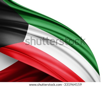 Kuwait  flag of silk with copyspace for your text or images and white background - stock photo