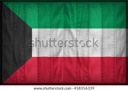 Kuwait flag pattern on synthetic leather texture, 3d illustration style