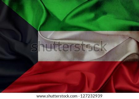 Kuwait grunge waving flag - stock photo