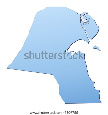 Kuwait map filled with light blue gradient. High resolution. Mercator projection.
