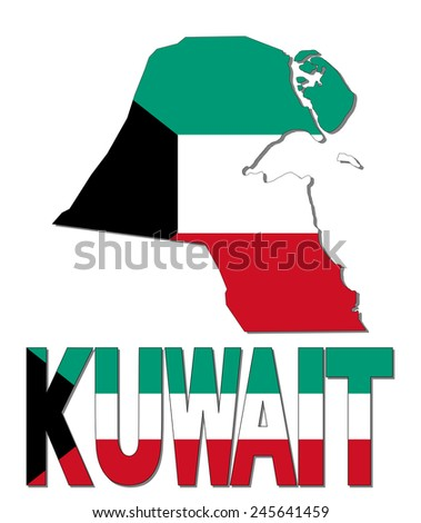 Kuwait map flag and text illustration - stock photo