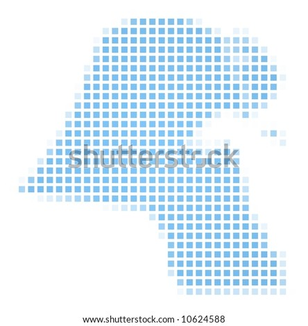 Kuwait map square mosaic. Easy to recolor. - stock photo