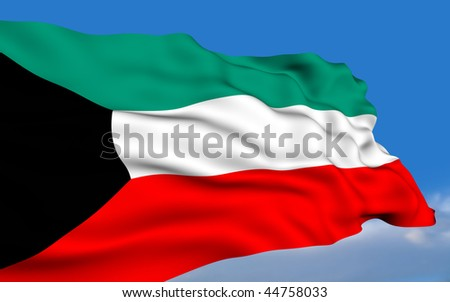 Kuwaiti flag waving on wind - stock photo