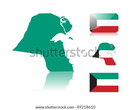 Kuwaiti map including: map with reflection, map in flag colors, glossy and normal flag of Kuwait. - stock photo