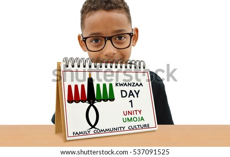Kwanzaa Calendar Day One Unity (Umoja) Family Community Culture School Age Boy Smiling wearing eye glasses  looking at camera
