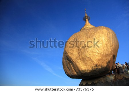 Kyaiktiyo Pagoda (Golden Rock), One of the most Buddhist worshipful place in Myanmar.