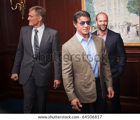 "KYIV - AUG 7: Actors Silvester Stallone, Jason Statham, Dolph Lundgren  in the film presentation of  ""The Expendables"", August  7, 2010 in Kyiv, Ukraine"