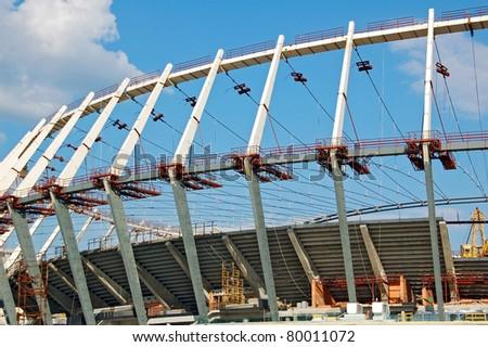 KYIV (KIEV), UKRAINE - MAY 14: Construction site of football stadium, preparation for Euro 2012 football championship), on May 14, 2011 in Kyiv, Ukraine - stock photo