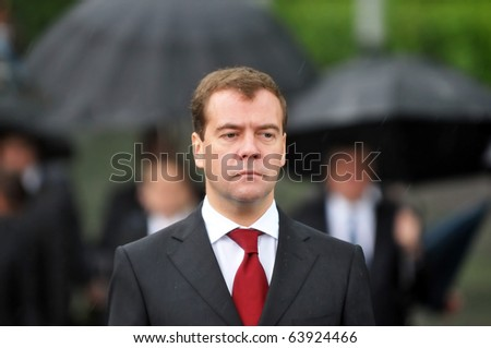 KYIV - MAY 17: Russian President Dmitry Medvedev (pictured) honors victims of Soviet-era famine with Ukrainian President Victor Yanukovych, May 17, 2010 in Kyiv, Ukraine.