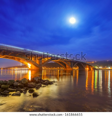 Kyiv Metro bridge at night - stock photo