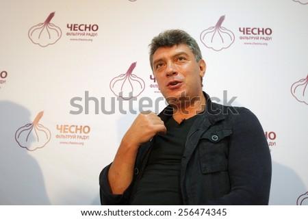 KYIV - 04 SEPTEMBER: Opposition leader, former first deputy prime minister Boris Nemtsov, during the presentation of brochures about Putin's riches on September 04, 2012 in Kyiv, Ukraine. - stock photo