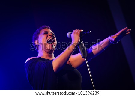 KYIV, UKRAINE - APR 03: American R & B singer and songwriter Lisa Fischer singing a song during a solo concert Chris Botti on April 03, 2012 in Kyiv, Ukraine - stock photo