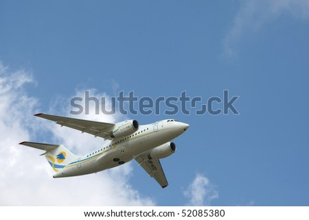 KYIV, UKRAINE - APR 28: During the presentation of the new the Antonov An-148 regional jet aircraft on April 28, 2010 in Kyiv, Ukraine.