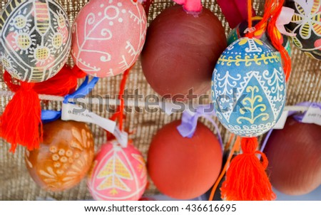 KYIV, UKRAINE - APRIL 28, 2016: All-Ukrainian festival of Easter eggs by ethnocultural project Folk Ukraine on Sophia Square in the centre of Kiev, Ukraine.Easter eggs painted by masters-painters