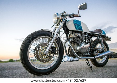 Kyiv, Ukraine - April 10th, 2016: Photo of Cafe Racer motorcycle Yamaha