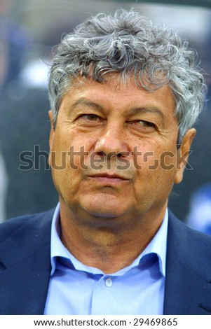 KYIV, UKRAINE - APRIL 30: The Head Coach of Shakhtar Donetsk football team Mircea Lucescu before UEFA Cup semi-final match between Dynamo Kyiv and Shakhtar at Valery Lobanovskyi stadium in Kyiv on April 30, 2009
