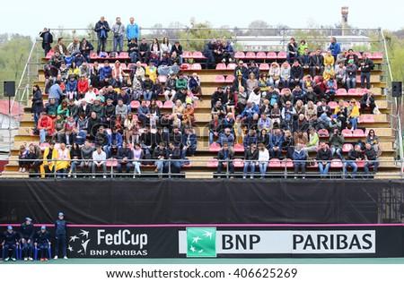 KYIV, UKRAINE - APRIL 16, 2016: Tribunes of central court of Campa Bucha Tennis Club during BNP Paribas FedCup game Ukraine vs Argentina, Kyiv, Ukraine - stock photo