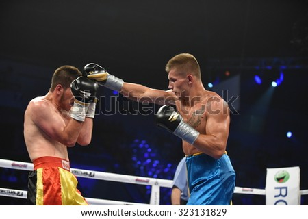 Kyiv, UKRAINE - August 29, 2015 : An unidentified boxers in the ring during fight for ranking points in the Palace of Sport in Kiev, Ukraine