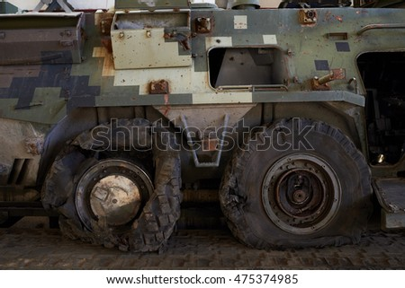 KYIV, UKRAINE - AUGUST 29, 2016: Armored Personnel Carrier (APC) before repair. Ukrainian workers modernize an Armored Personnel Carrier (APC) for the Ukrainian forces, at the Kiev armored plant.