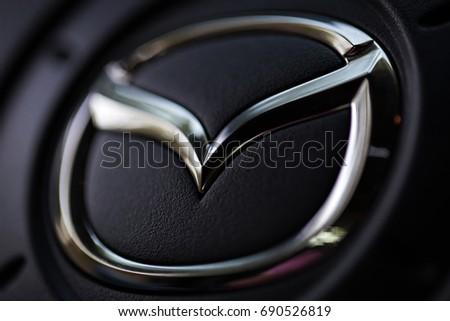 KYIV, UKRAINE - AUGUST 05, 2017: Mazda car logo on the steering wheel August 05, 2017 in Kiev, Ukraine.