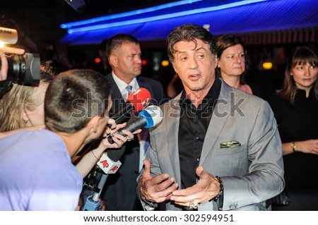 "KYIV, UKRAINE - August 07, 2010: Sylvester Stallone at the ""The Expendables"" Film premiere in Kiev, Ukraine. - stock photo"