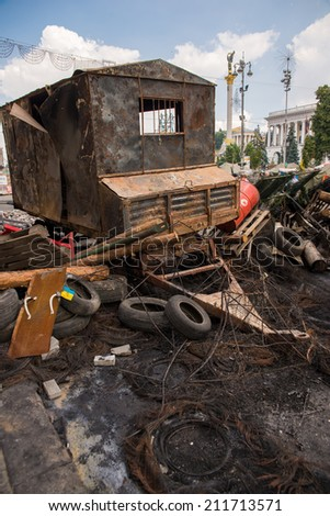 KYIV, UKRAINE - AUGUST 8: The last day of the existence of tents and barricades at the Maidan Nezalezhnosti on August 8, 2014 in Kyiv, Ukraine
