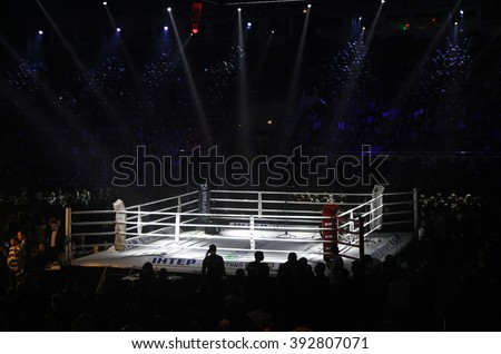 """KYIV, UKRAINE - DECEMBER 13, 2014: Boxing ring in Palace of Sports in Kyiv during """"Evening of Boxing"""" - stock photo"""