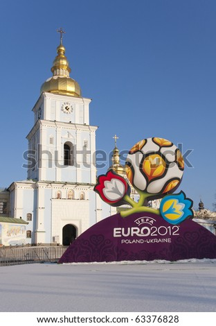 KYIV, UKRAINE - DECEMBER 15: Official logotype UEFA EURO 2012, St.Michael's Orthodox Cathedral , Kyiv, Ukraine, December 15, 2009. - stock photo