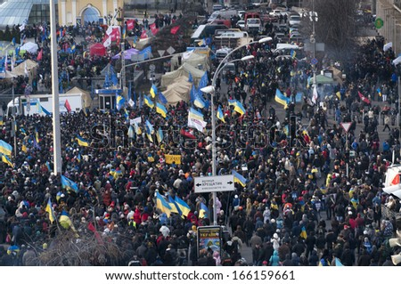 KYIV, UKRAINE - DECEMBER 3: Ukrainian people demand the resignation of the government and early voting on the Maidan Nezalezhnosti on December 3, 2013 in Kyiv, Ukraine