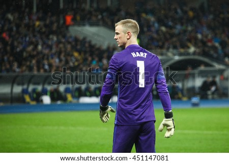 KYIV, UKRAINE - FEBRUARY 24, 2016: Joe Hart of Manchester City FC after their UEFA Championes League game with Dynamo Kyiv at NSC Olimpiyskiy stadium.