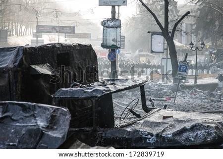 KYIV, UKRAINE - JAN 23: Hrushevskogo street during anti-government protest Euromaidan on January 23, 2014, in center of Kiev, Ukraine - stock photo