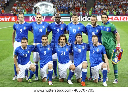 KYIV, UKRAINE - JULY 1, 2012: Italy national football team pose for a group photo before UEFA EURO 2012 Final game against Spain at Olympic stadium in Kyiv, Ukraine - stock photo