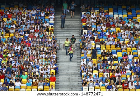 KYIV, UKRAINE - JULY 28: Tribunes of NSC Olympic stadium during Ukraine Championship game between Dynamo Kyiv and FC Sevastopol on July 28, 2013 in Kyiv, Ukraine - stock photo