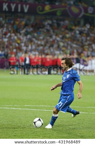 KYIV, UKRAINE - JUNE 24, 2012: Andrea Pirlo of Italy scores a penalty kick during UEFA EURO 2012 Quarter-final game against England at Olympic stadium in Kyiv, Ukraine - stock photo