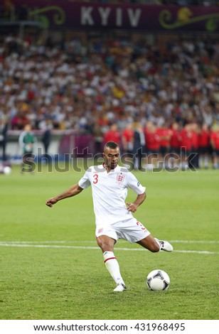 KYIV, UKRAINE - JUNE 24, 2012: Ashley Cole of England scores a penalty kick during UEFA EURO 2012 Quarter-final game against Italy at Olympic stadium in Kyiv, Ukraine - stock photo