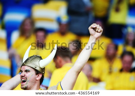 KYIV, UKRAINE - June 15, 2012 EURO 2012 soccer fans against Sweden