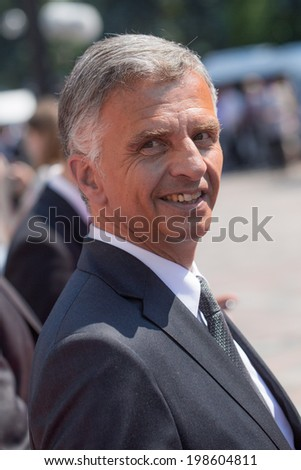 KYIV, UKRAINE - 08 JUNE 2014: President and Foreign Minister of Switzerland, OSCE Chairperson-in-Office Didier Burkhalter during ceremony the inauguration of Ukrainian President Poroshenko