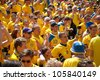 KYIV, UKRAINE - JUNE 15: Sweden and Ukrainian fans arrive in the fanzone before match Euro 2012 between England - Sweden on June 15, 2012 in Kyiv, Ukraine. Zone for the fans UEFA EURO Championship. - stock