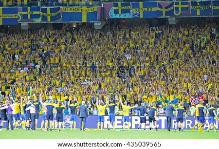 KYIV, UKRAINE - JUNE 19, 2012: Swedish players thank their fans after the UEFA EURO 2012 game against Sweden at Olympic stadium in Kyiv, Ukraine - stock photo