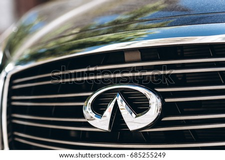 Kyiv, Ukraine - June 16th, 2017: Infiniti logo close up. Infinity is Japanese automobile manufacturer. It is Mazda brand which is used for luxury automobiles.