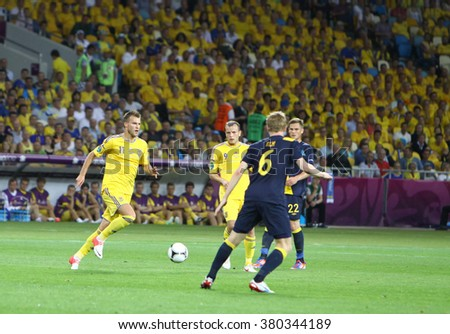 KYIV, UKRAINE - JUNE 11, 2012: UEFA EURO 2012 football game Ukraine vs Sweden at Olympic stadium in Kyiv - stock photo
