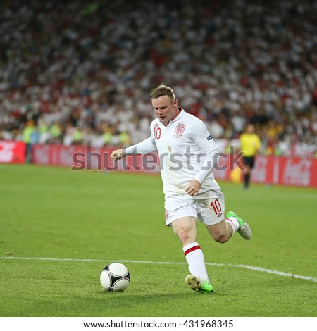 KYIV; UKRAINE - JUNE 24; 2012: Wayne Rooney of England controls a ball during UEFA EURO 2012 Quarter-final game against Italy at Olympic stadium in Kyiv; Ukraine - stock photo