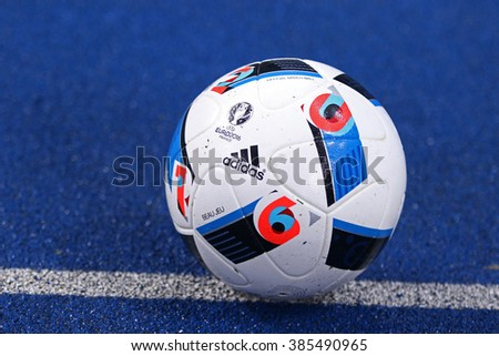 KYIV, UKRAINE - March 1, 2016: Adidas Beau Jeu - official match ball of the Euro-2016 on the ground during Ukrainian Cup quarterfinal first leg game FC Oleksandria vs FC Dynamo Kyiv in Kyiv - stock photo