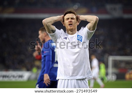 KYIV, UKRAINE - MARCH 19, 2015: Antunes of FC Dynamo Kyiv reacts after missed a goal during UEFA Europa League game against FC Everton at Olympic stadium in Kyiv - stock photo