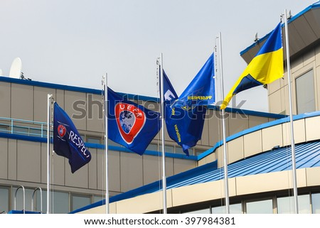 KYIV, UKRAINE - March 28, 2016: Flags UEFA, FIFA and Ukraine at the House of Football in Kyiv, Ukraine