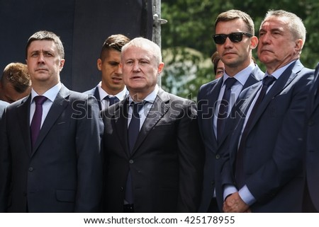 KYIV, UKRAINE-MAY 22, 2016:Hryhoriy Surkis Ukrainian football functionary and ministers  at the ceremony of the Departure of the National Football Team of Ukraine or the European Championship 2016