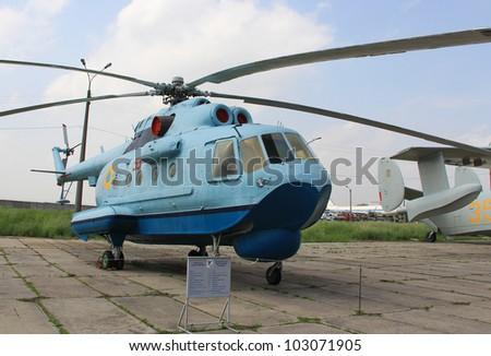 KYIV, UKRAINE- MAY 16: Mil Mi-14 Haze Soviet�anti-submarine�helicopter  at State Aviation Museum  on May 16, 2012 in Kyiv, Ukraine - stock photo